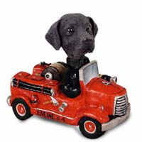 Labrador Retriever Black Fire Engine Doogie Collectable Figurine