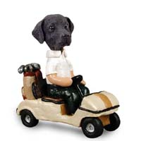 Labrador Retriever Black Golf Cart Doogie Collectable Figurine