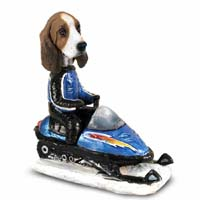 Basset Hound Snowmobile Doogie Collectable Figurine