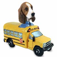 Basset Hound School Bus Doogie Collectable Figurine