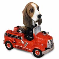 Basset Hound Fire Engine Doogie Collectable Figurine