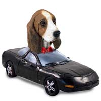 Basset Hound Sports Car Doogie Collectable Figurine
