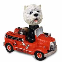 West Highland Terrier Fire Engine Doogie Collectable Figurine