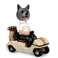 Norwegian Elkhound Golf Cart Doogie Collectable Figurine