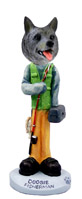 Norwegian Elkhound Fisherman Doogie Collectable Figurine