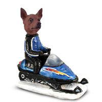 Miniature Pinscher Red & Brown Snowmobile Doogie Collectable Figurine