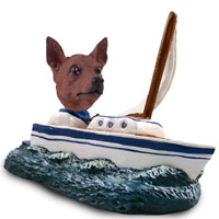 Miniature Pinscher Red & Brown Sailboat Doogie Collectable Figurine
