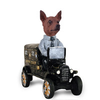Miniature Pinscher Red & Brown Paddy Wagon Doogie Collectable Figurine