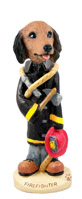 Dachshund Longhaired Red Fireman Doogie Collectable Figurine