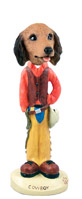 Dachshund Longhaired Red Cowboy Doogie Collectable Figurine
