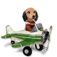 Dachshund Longhaired Red Airplane Doogie Collectable Figurine