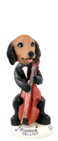 Dachshund Longhaired Red Cellist Doogie Collectable Figurine