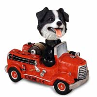 Border Collie Fire Engine Doogie Collectable Figurine