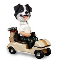 Border Collie Golf Cart Doogie Collectable Figurine