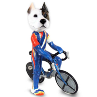 Pit Bull Terrier Bicycle Doogie Collectable Figurine