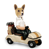 Basenji Golf Cart Doogie Collectable Figurine