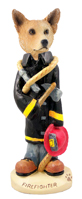 Australian Cattle Dog, RED Fireman Doogie Collectable Figurine