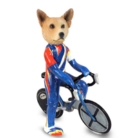 Australian Cattle Dog, RED Bicycle Doogie Collectable Figurine