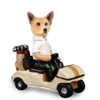 Australian Cattle Dog, RED Golf Cart Doogie Collectable Figurine