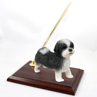 Shih Tzu Black & White w/Sport Cut Pen Set