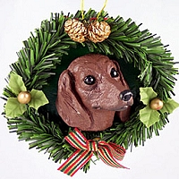 Dachshund Red Wreath Ornament