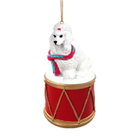 Poodle White Drum Ornament