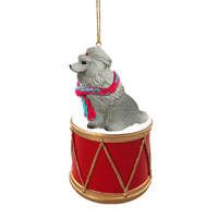 Poodle Gray Drum Ornament