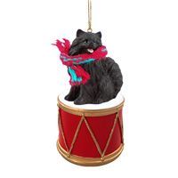 Pomeranian Black Drum Ornament