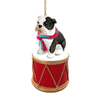 Bulldog Brindle Drum Ornament