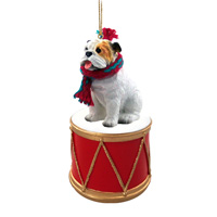 Bulldog White Drum Ornament