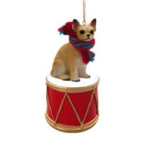 Chihuahua Tan & White Drum Ornament