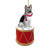 German Shepherd Black & Silver Drum Ornament