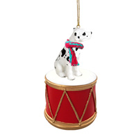 Great Dane Harlequin w/Uncropped Ears Drum Ornament