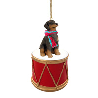 Doberman Pinscher Red w/Uncropped Ears Drum Ornament
