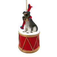 Schnauzer Gray w/Uncropped Ears Drum Ornament