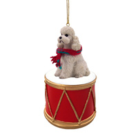 Poodle White w/Sport Cut Drum Ornament