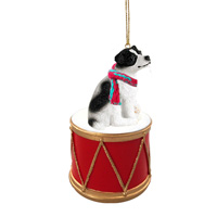 Jack Russell Terrier Black & White w/Smooth Coat Drum Ornament