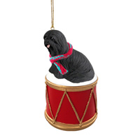 Lhasa Apso Black Drum Ornament