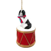 Japanese Chin Black & White Drum Ornament