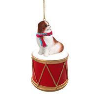 Japanese Chin Red & White Drum Ornament