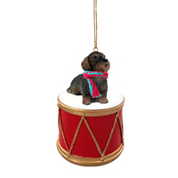 Wire Haired Dachshund Red Drum Ornament