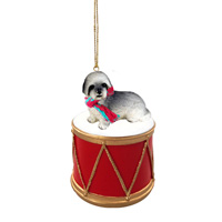Lhasa Apso Gray w/Sport Cut Drum Ornament