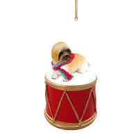 Lhasa Apso Brown w/Sport Cut Drum Ornament