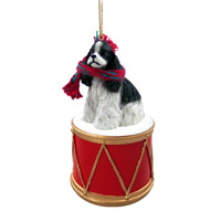 Cocker Spaniel Black & White Drum Ornament