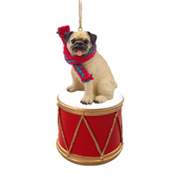 Pug Fawn Drum Ornament