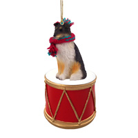 Sheltie Tricolor Drum Ornament