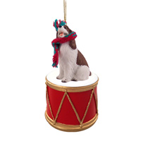 Springer Spaniel Liver & White Drum Ornament