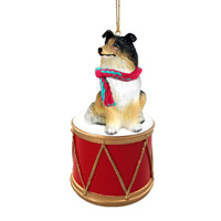 Collie Tricolor Drum Ornament