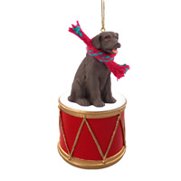 Labrador Retriever Chocolate Drum Ornament