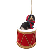 Shih Tzu Black & White Drum Ornament